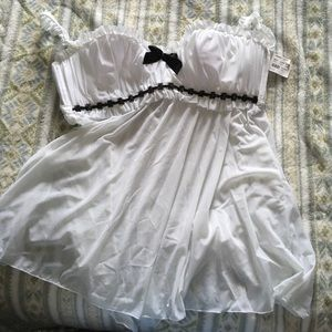 White mesh babydoll with black stone details